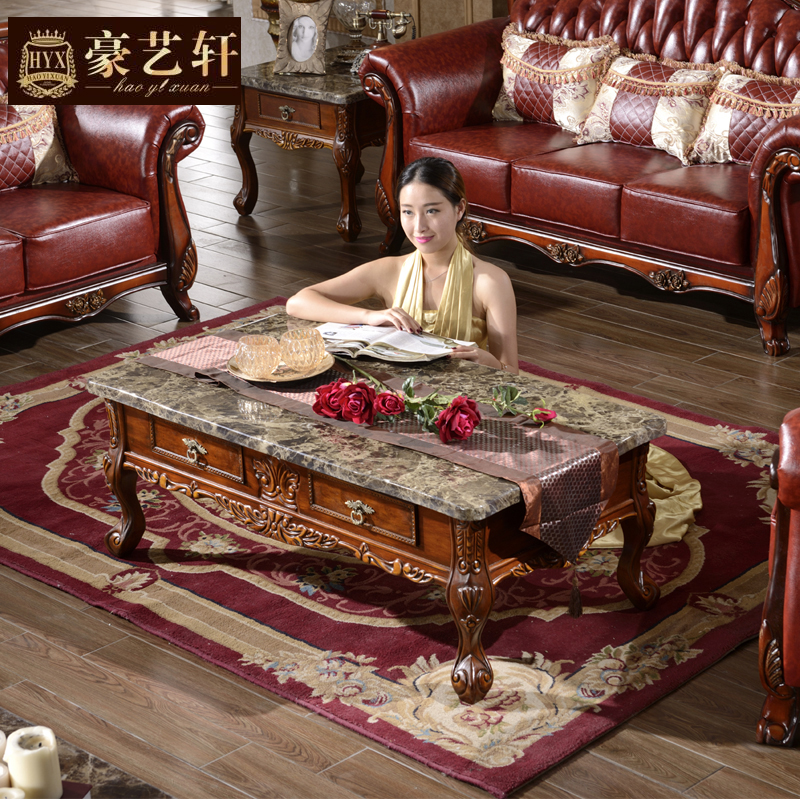 Marble Coffee Table With Drawers: Continental Carved Wood Coffee Table Combination European