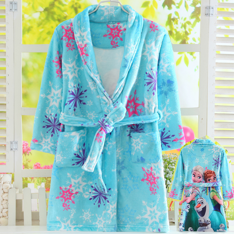 100-160cm Long Sleeves Winter Flannel bathrobes Elsa Anna Girls Coral Velvet Bath Robes Kids Pajamas Homewear Sleepwear