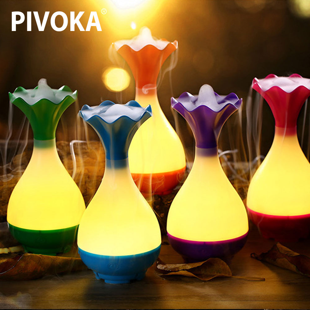 PIVOKA 200ml Air Humidifier Essential Oil Aroma Diffuser LED Night Light Ultrasonic Cold Atomizer Home WH цены