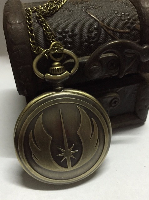 (1135) New Vintage Bronze Star Wars Jedi Ordine Quarzo Orologio Da Tasca Collana
