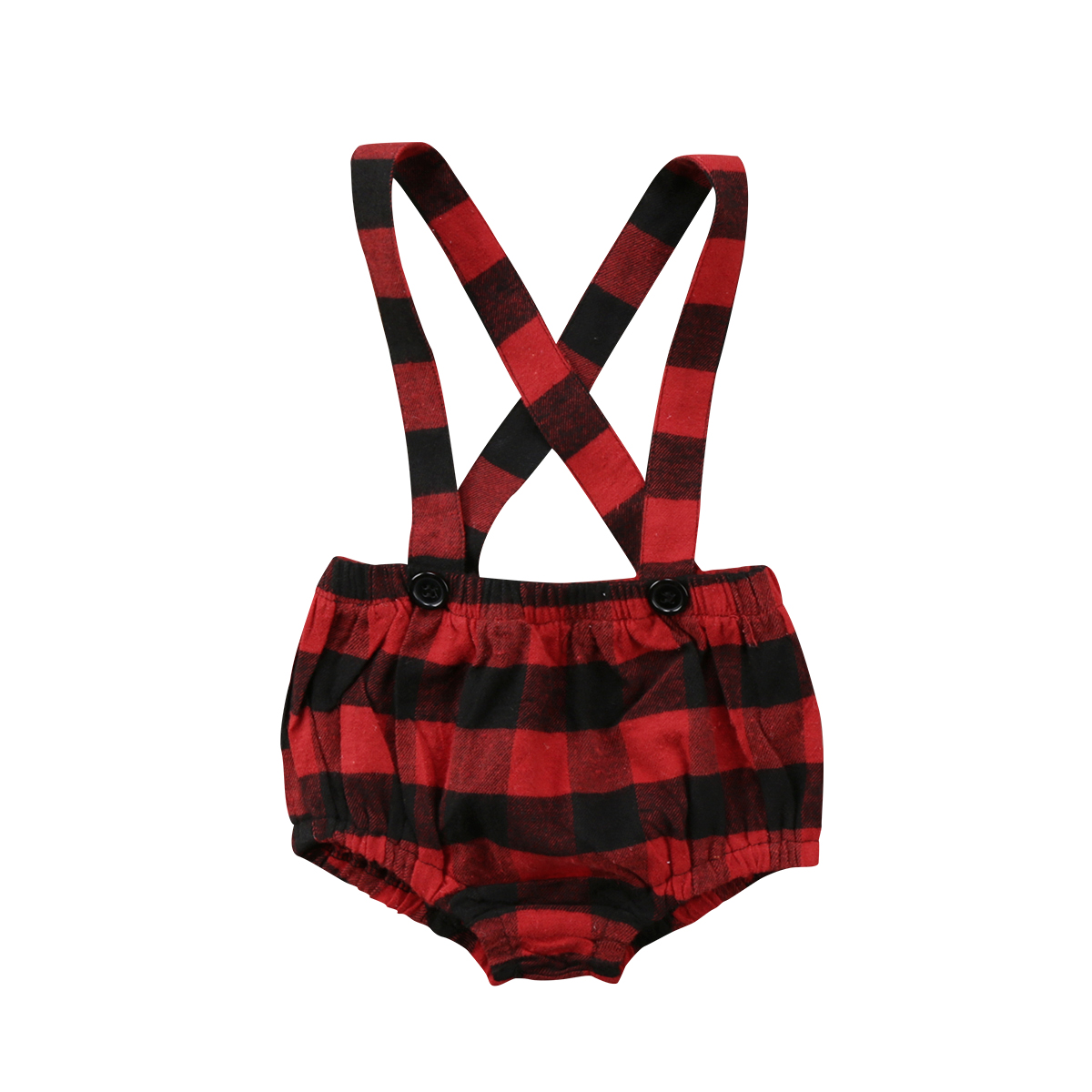 0-3T New Style Cute Newborn Kids Baby Girls Plaid Suspenders Brace Pants Shorts Outfits Clothes(China)