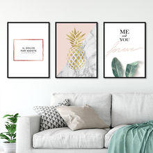 Hot sale Nordic style Black and white pink pineapple Art Canvas Poster and Print Canvas Painting Decorative Wall Decor P0014(China)