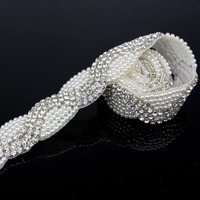 1 Yard Luxurious Sliver Rhinestone Pearl Trim Applique Rhinestone Appliques For Clothes Accessories Wedding Dress Sewing