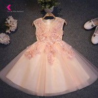 XCOS Pretty Flower Girl Dresses Appliques Baby Girl Dress Lace Beaded Floor Length Long Style Dresses vestido comunion