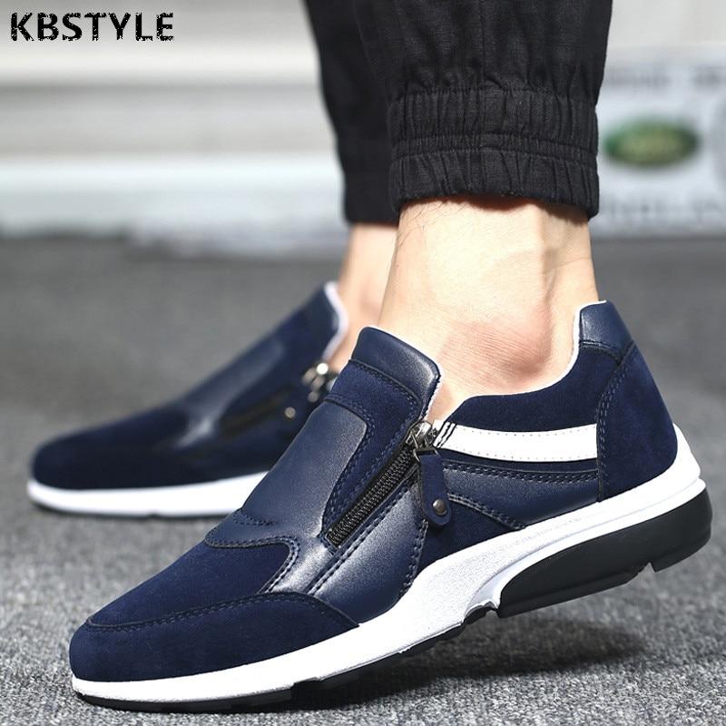 KBstyle Men Shoes 2017 New Fashion Spring Autumn Men PU Leather Low Top Zipper Flats Shoes