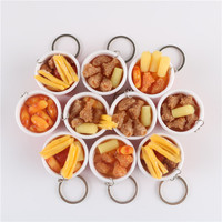 10pcs Set PVC Food Keychain Toy Chicken French Fries Simulation Food Models Pretend Play Toys For