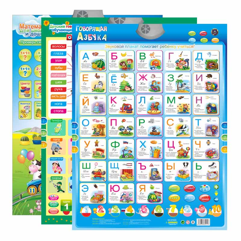 Learning-Machine Charts Educational-Toys Wall-Hanging-Chart Phonetic Russian Alphabet
