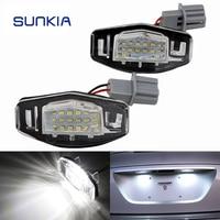 2x SUNKIA Super White 6000k 12V Canbus No Error Car LED License Plate Light For Honda