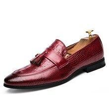 2018 New Fashion Drop Shipping Fashion Mens Tassel Office Footwear Leather Italian Formal Snake Skin Dress Shoes Plus size 47