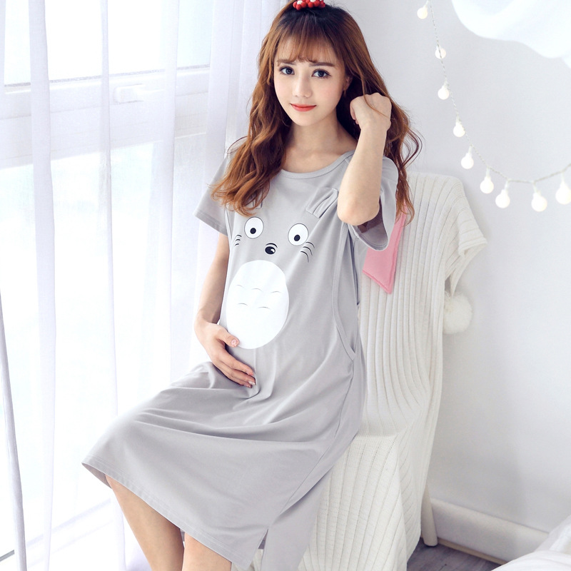 Maternity Nightgown Cotton Cartoon Nursing Pajamas Nightwear For Breastfeeding Sleepwear Pregnancy Nightdress Pregnant Robe