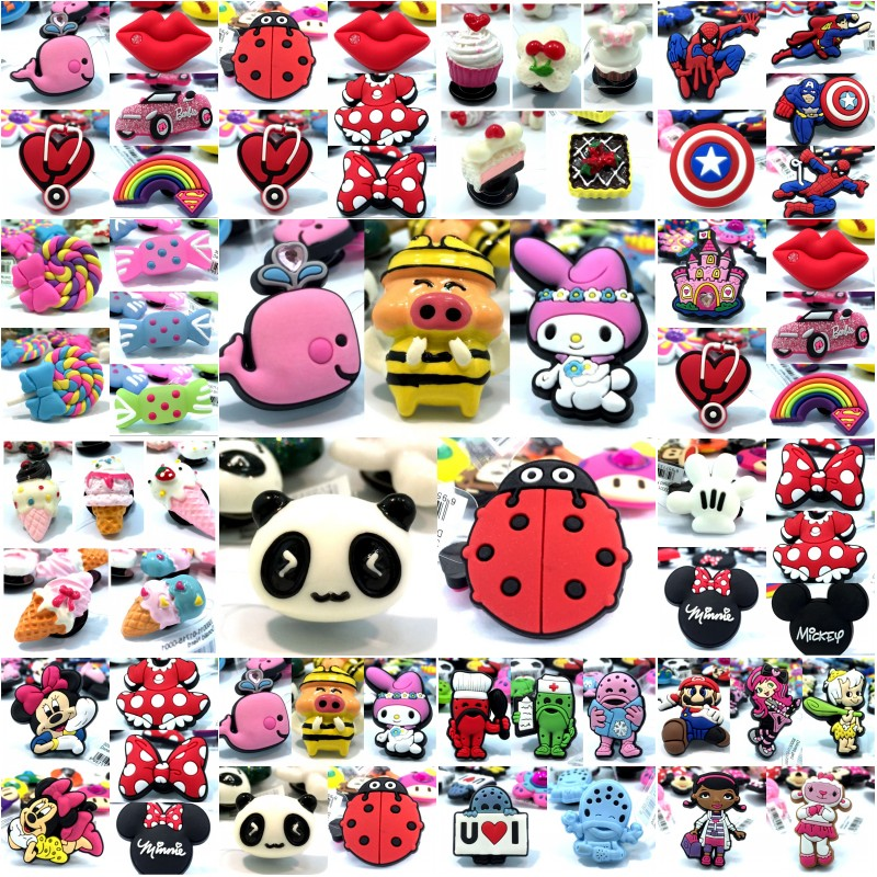 10pcs High Imitation Shoe Charms Ice Cream Soccer Mickey Avenger Whale Accessory Buckles Fit Bracelets Croc JIBZ Kids Gifts