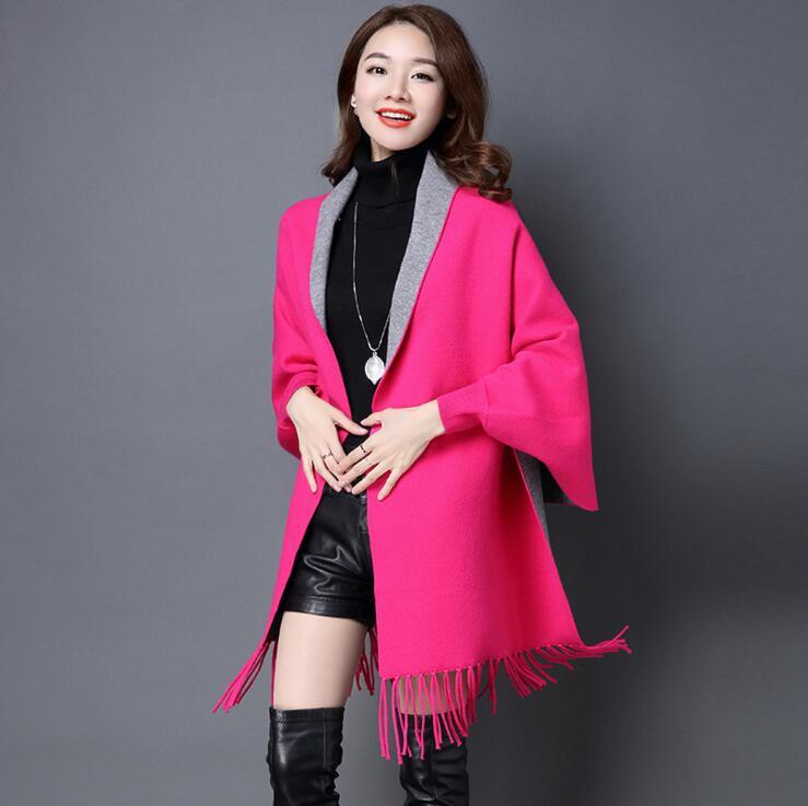 Женские свитера для зимы, Женская куртка с длинным рукавом, тонкая куртка, Длинные Топы - Цвет: rose red