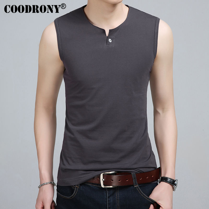 Coodrony slim fit tank top men sleeveless t shirt men 2017 for Best slim fit mens t shirts