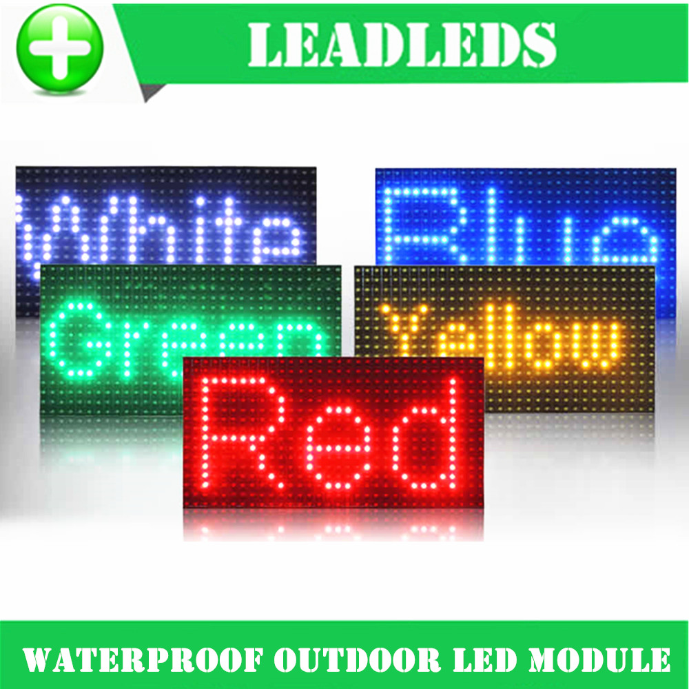 32 16cm waterproof P10 Outdoor Red Green Yellow Blue Led module for single color P10 led