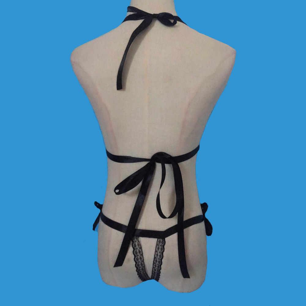 XXL בתוספת גודל נשים סקסי תחרה ללא משענת הלבשה תחתונה ארוטית סרבל בגד גוף תלבושות חמות הלבשה תחתונה סקסית פיג 'מה May31