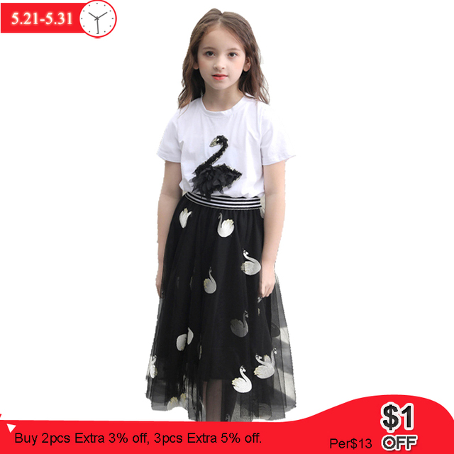 Summer Girls Clothes Sets Swan Mesh Skirts Tracksuits Embroidery T shirt Big Girls Sets 8 10 11 12 Years Teenage Girl Clothes