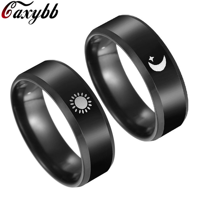 25c38ca354 Black Plated Sun and Moon Promise Ring for Couple Cool Anel Falange  Championship Rings For Women Men BFF Valentines' Day Gift