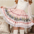 Mori girl Pink Bow tie Cartoon Skirts for women Lolita Cute Lace Decoration Sweet Skirt Poker Fairy Pink Alice Pleated Skirts