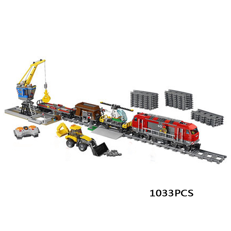 City creators radio remote control Heavy haul train building block worker figures Engineering bricks 60098 rc assemblage toys lepin 02009 city engineering remote control rc train model