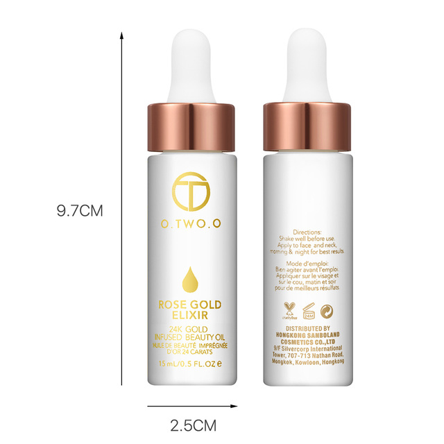 O.TWO.O 24k Rose Gold Elixir Skin Make Up Oil For Face Essential Oil Before Primer Foundation Moisturizing Face Oil Anti-aging 3