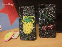 BotexBling lindo bordado cereza piña brillo funda para iphone XS MAX XR X 8 8 plus 7 7 plus 6 6 s plus 6 plus cubierta dura(China)