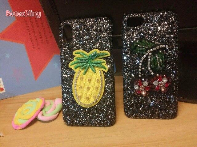 BotexBling lindo bordado cereza piña brillo funda para iphone XS MAX XR X 8 8 plus 7 7 plus 6 6 s plus 6 plus cubierta dura
