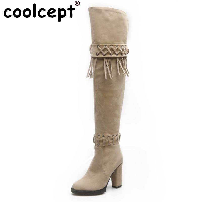 Coolcept Size 34-43 Sexy Women Over Knee Boots Tassel High Heel Boots Warm Shoes Women Thigh Long Boots Fashion Lady Footwears nasipal 2017 new women pu sexy fashion over the knee boots sexy thin high heel boots platform woman shoes big size 34 43 g804