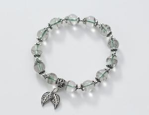 Настоящий товар. Браслет-цепь из серебра 925 пробы с зеленым фантомным кварцевым камнем и листом GTLS820