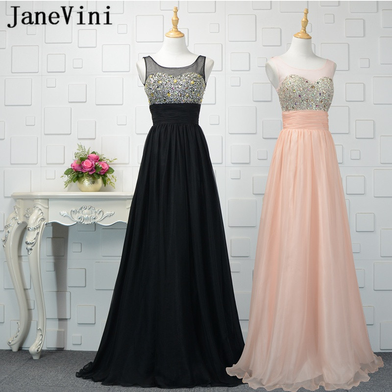 JaneVini Elegant Tulle Sequined Crystal Long   Bridesmaid     Dresses   2018 A Line Sheer Scoop Neck Sheer Back Abito Damigella D'onore