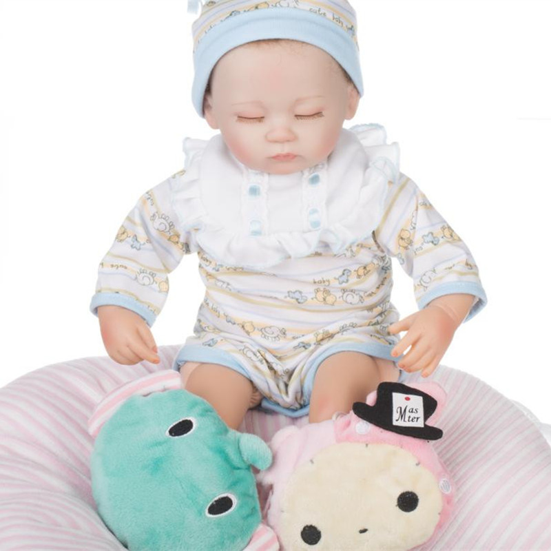 ФОТО 18 inches 45 cm little baby boys doll close eyes silicone newborn baby boy dolls for kids toys lifelike reborn babies for sale