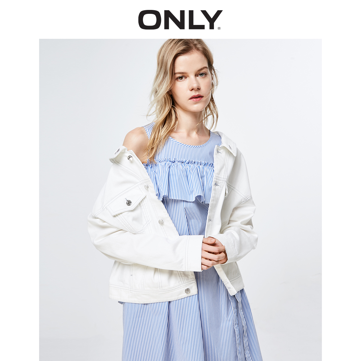 Tylko 2019 wiosna lato nowych kobiet luźne dopasowanie Lace up Denim płaszcz  119154528 w Trencze od Odzież damska na  Grupa 2