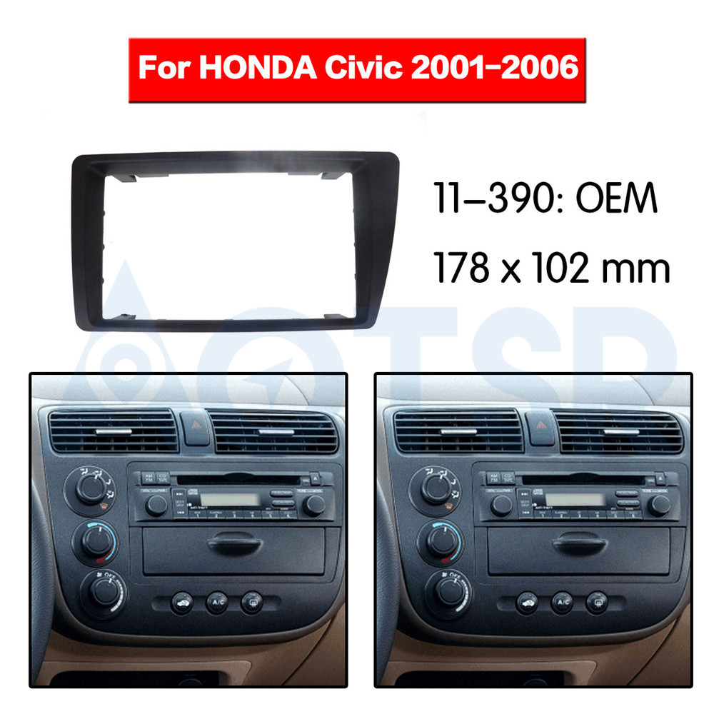 2 din Radio Fascia for HONDA Civic 2001-2006 Stereo Audio Panel Mount Installation Dash Kit Frame Adapter Radio fit LEFT WHEEL