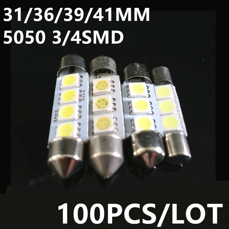 Clearance SALE 100pcs/lot 36mm 39mm 41mm 31mm 5050SMD 4LED White light Festoon led Dome light 5050smd Auto Car Bulb Lamp Light