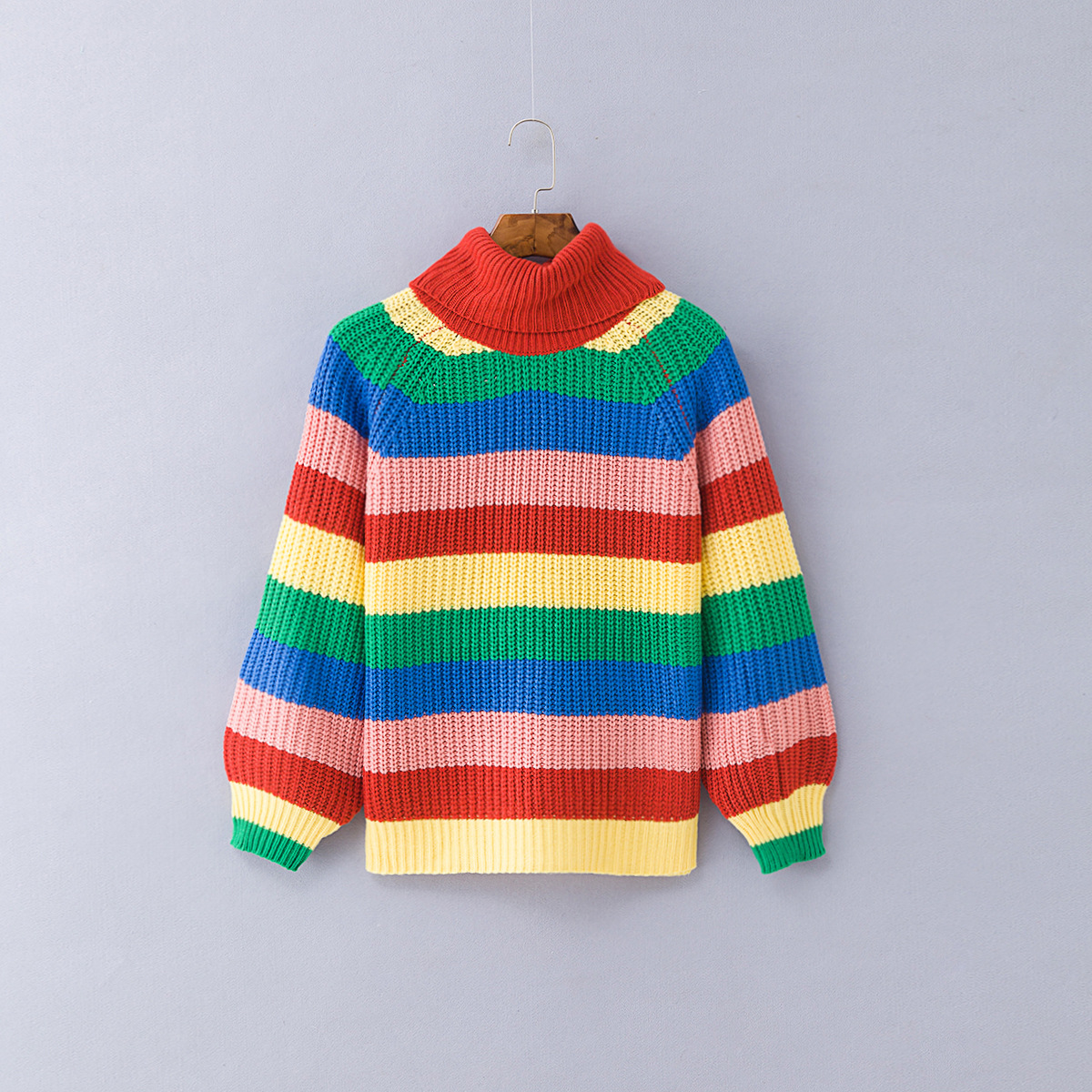 rainbow sweater girls knit sweaters women plus size pullovers full casual striped turtleneck pink harajuku fashion in Pullovers from Women 39 s Clothing