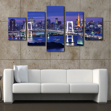 (No Frame)City Night and Bridge 5 Panels/Set Large HD Picture Paint on Canvas Prints Painting Artwork Wall Decorative Painting