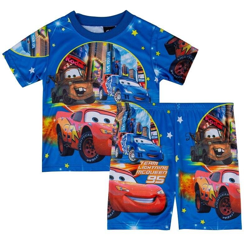 Kids Cartoon Cars Red Sleepwear Boy Spiderman   Pajamas     Set   Children Summer Print Pijamas   Set