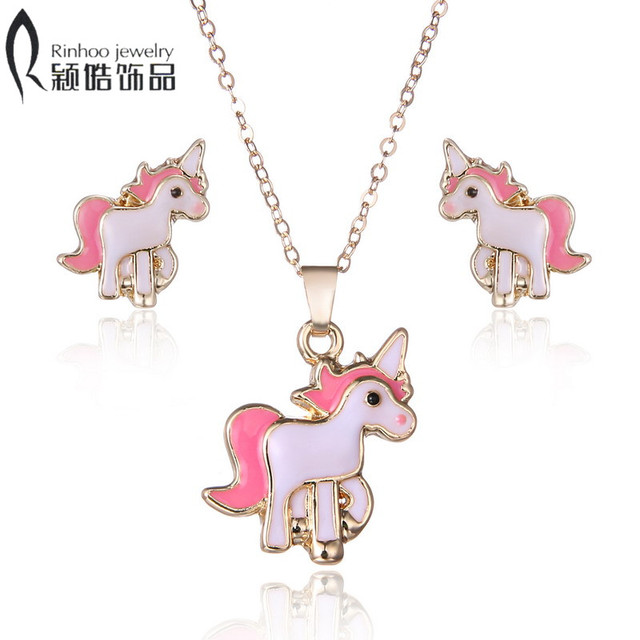 Hot Sale pink Animal Jewelry Set Chain Kids Jewelry Cartoon Horse Necklace Earri