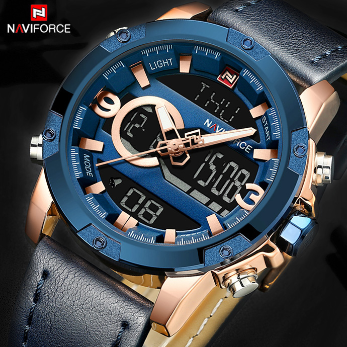 все цены на NAVIFORCE Fashion Top Brand Men Sport Watch Leather Army Military Wrist Watches Male Casual LED Quartz Digital Analog Clock