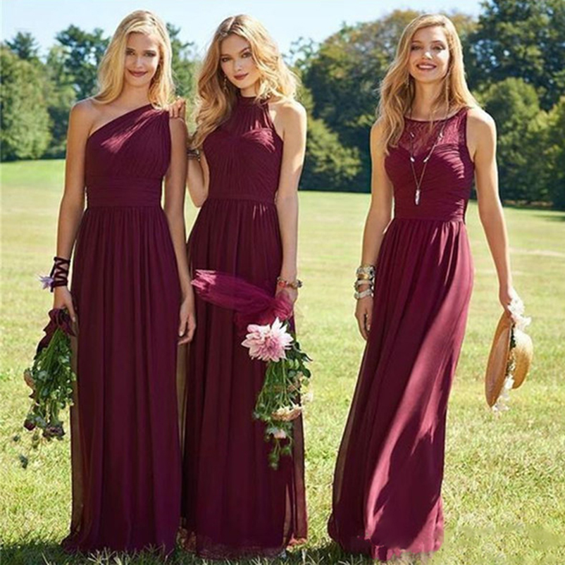 Burgundy   Bridesmaid     Dresses   Chiffon Boho 3 Kinds Neckline Floor Length Long Junior Maid of Honor Wedding Party Guest Gown 2019