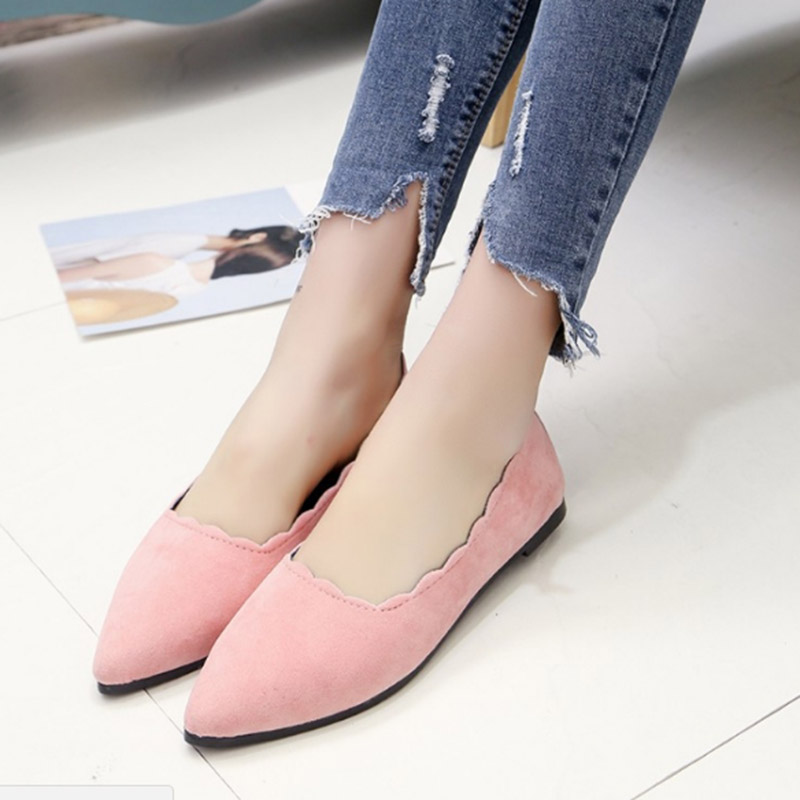 2017 Summer Hot Sale Sexy Women Shallow Mouth Flock Single Doug Shoes Pointed Toe Wavy Edge Flats Loafers Shoes Big Size 35-39 new 2017 spring summer women shoes pointed toe high quality brand fashion womens flats ladies plus size 41 sweet flock t179