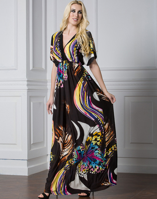 2018 Women Hot Sexy V Collar Plus Size Dress Bohemian Printing Long