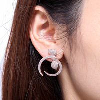 ZOZIRI 925 sterling silver bowknot earrings for women cubic zirconia earring jewelry rose gold silver gold black color