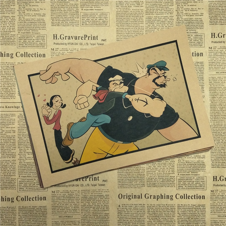 Popeye the Sailor with Betty Boop/classic movie/kraft paper/bar ...