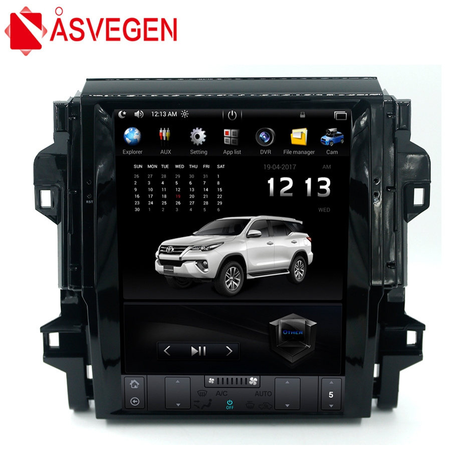 Asvegen Car Stereo Radio For Toyota Fortuner 2016 2017 Vertical 12.1'' Android 7.1 Quad Core Multimedia Player GPS Navigation