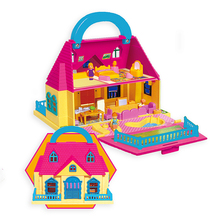 Childrens play house toy girl suitcase doll Assembly set Toy Model Building Kits villa DIY Furniture Accessories