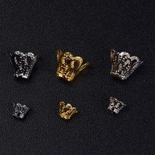 Capsules de perles en alliage de Zinc, 100 pièces/lot, fausses fleurs, pistolet, or noir, Rhodium, bouchon d'extrémité, récipient pour fabrication de bijoux, DIY