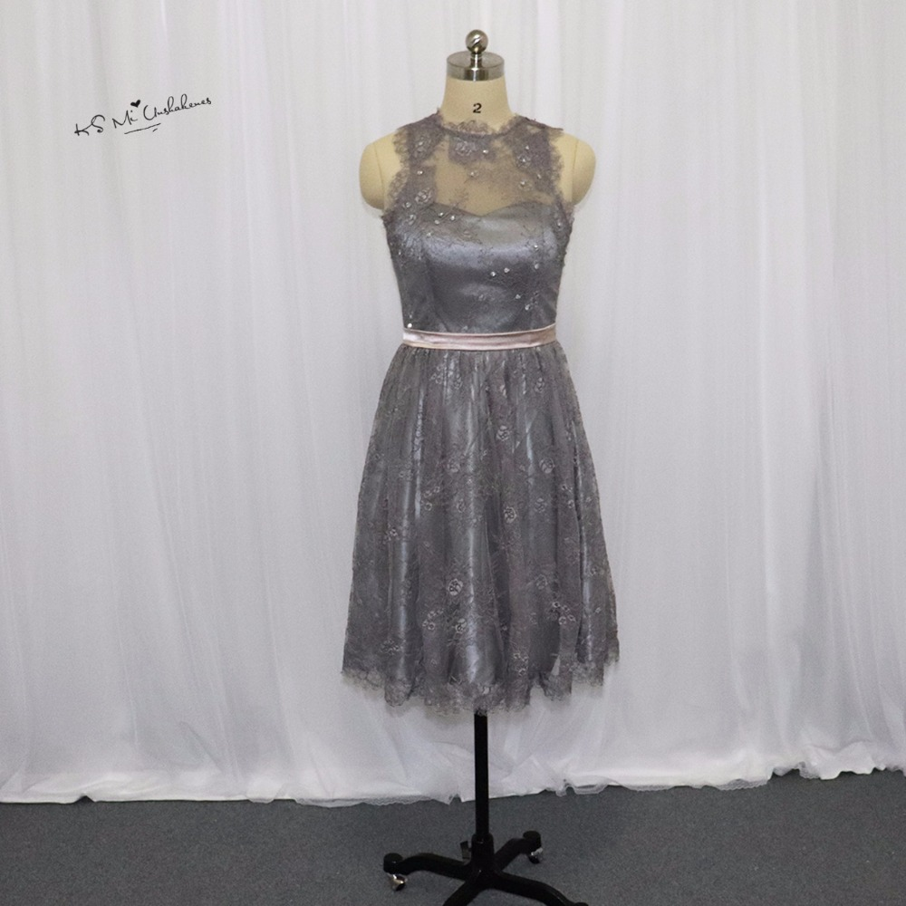 Robes de demoiselle d'honneur en dentelle grise africaine robe de soirée courte importée chine longueur au genou invité de mariage Bruidsmeisjes Jurk Feestjurken