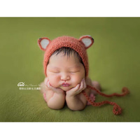 Newborn Fox Hat Hand Knitted Baby Hat Newborn Props For Babies Animal Mohair Bonnet Photography Props