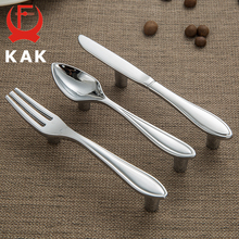 KAK Fashion Zinc Alloy Cabinet Handles Kitchen Spoon Fork Knife Cupboard Handles Drawer Knobs Novelty Furniture Handle 76mm fixmee fixmee new creative spoon knife fork kitchen cabinet closet drawer handle pulls 76mm