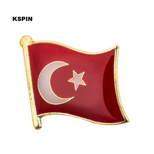 Turkey Flag Lapel Pin Pada Pin Bros Perhiasan Rozetten Kertas KS-0075(China)